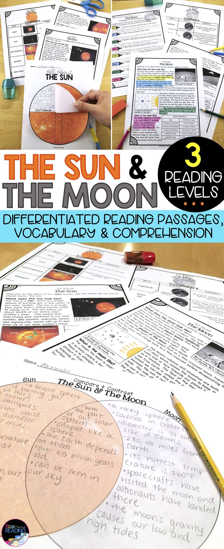 Sun and Moon Compare and Contrast! Differentiated Reading Passages. Perfect for your solar system unit, the moon activities, the sun activities, nonfiction reading, finding text evidence, solar system vocabulary. Includes sun and moon vocabulary, sun and moon crafts, moon and sun foldables, and more!