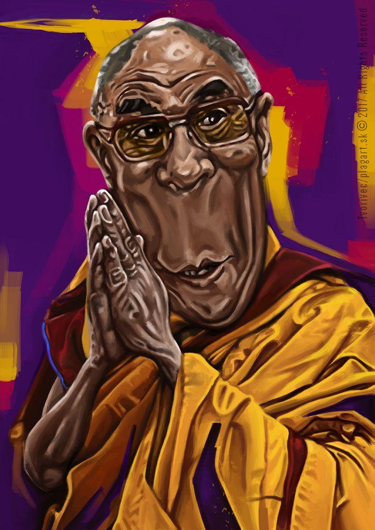 """""""Pamatujte, že mlčení je někdy tou nejlepší odpovědí.""""  Dalajláma- karikatúra, digitálna kresba A3"""