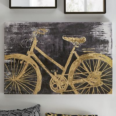 Gold Bicycle Art Canvas print with metallic gold hand-painted details.