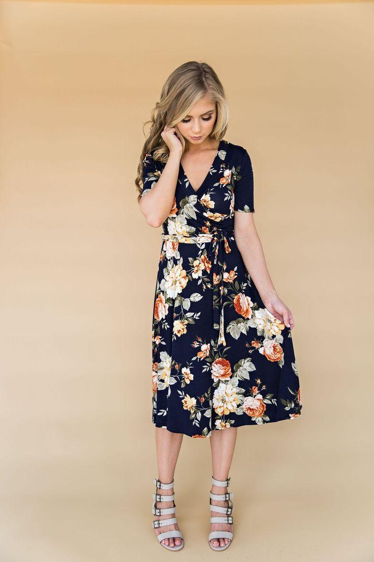 Navy Liya Wrap Floral, fashion, style, floral dress, nursing friendly dress, wrap dress, floral print, blonde hair, hair, makeup