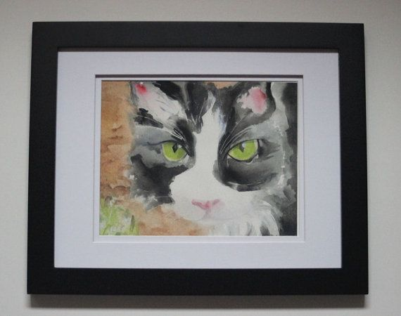 Tuxedo Cat Watercolor Print Giclee Print by SycamoreWoodStudio