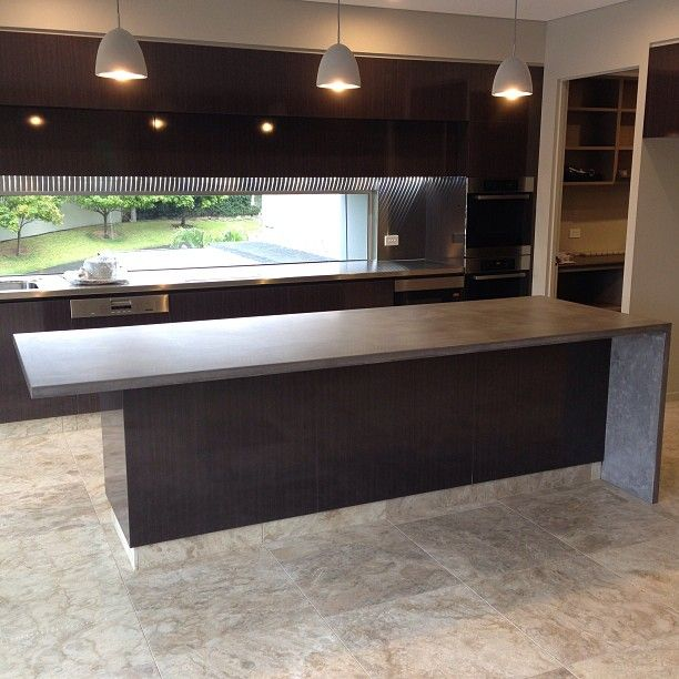 POPconcrete benchtop with waterfall end