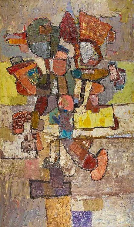 Description: Jacques Doucet  French, 1924-1999  Composition, 1956  Signed Doucet (lr) and dated CXXV 1956 on the reverse  Oil on canvas  62 x 38 inches (157.5 x 96.5 cm)   Provenance:  Galerie Ariel, Paris  World House Gallery, New York   Exhibited:  Pittsburgh, Pennsylvania, Carnegie Institute, Department of Fine Arts, Art Since 1900, Privately Owned in the Pittsburgh Area, Jan. 11-Feb. 10, 1963