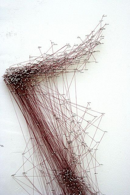 Katie Lewis:  Pin and thread installation, has an element of danger and chaos with the use of line and direction.