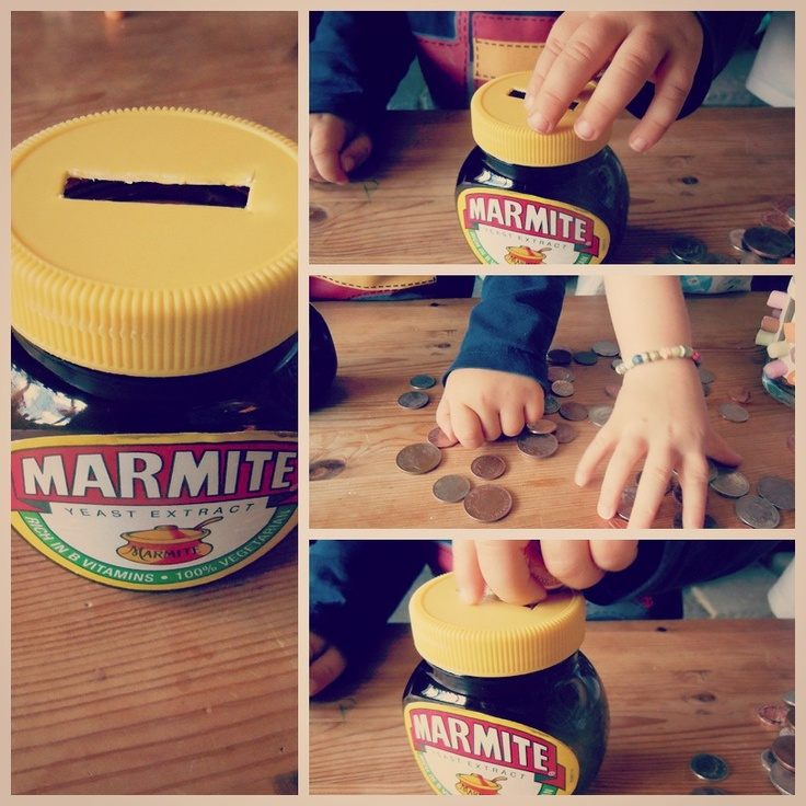 Upcycled Marmite money box... :-D  This makes me so happy!