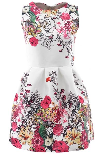 Sweet Graphic Floral White Mini Flare Dress