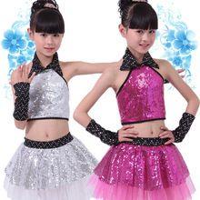 Дети Блесток Джаз Танец Современный Танец Костюм моды Латинской вальс танцы dress сценическое шоу платья(China (Mainland))