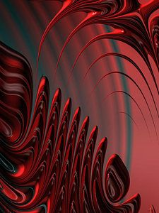 Digital Art - Red And Black Modern Fractal Design by Matthias Hauser