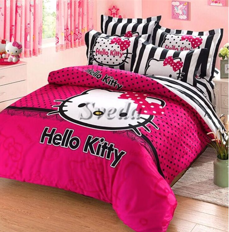 Hello Kitty Twin Size Duvet Cover Bedding Set for Girls bedroom #Unbranded