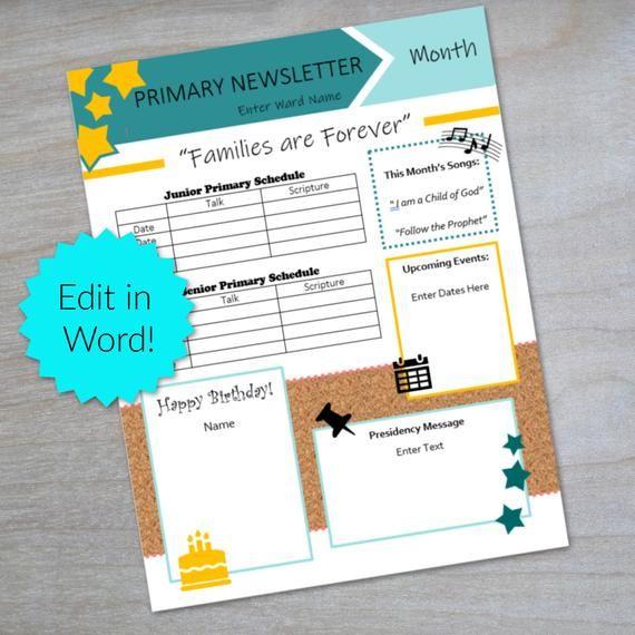 Lds Primary Newsletter Editable Newsletter Template Church