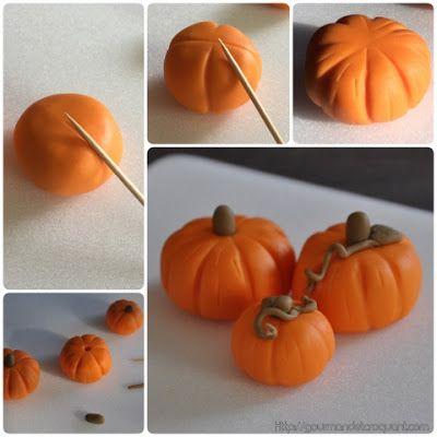 DIY make pumpkin out of fondant / tutoriel: comment faire des citrouilles en pâte à sucre / Halloween dessert