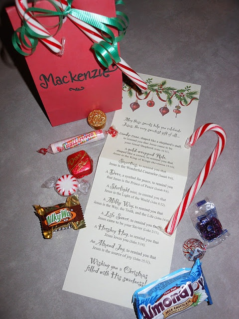 The sweetest gift each candy represents a name and scripture reference
