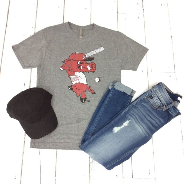 Arkansas Razorback Baseball 'Ribby' Tee {H. Grey} - The Fair Lady Boutique - 3