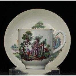 Coffee Cup and Saucer: Hancock Classical Ruin, coloured C1765