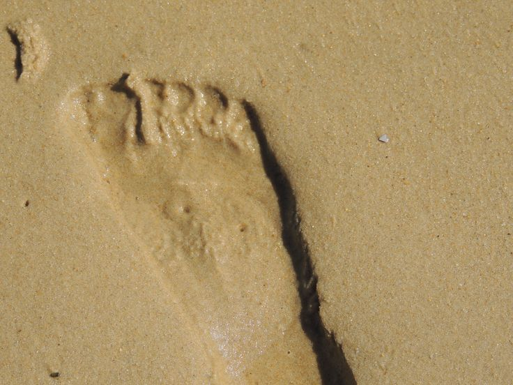 Stranden, voetafdruk in het zand. Beaches, footprint in the sand.
