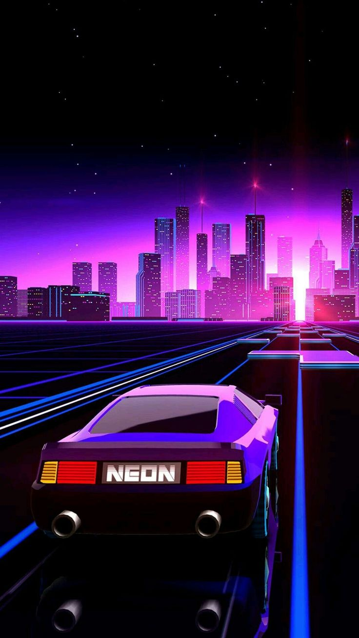 Nuit sur les lumières de la ville. Un style rétro wave, des lumières néons orange, bleu, viole ...