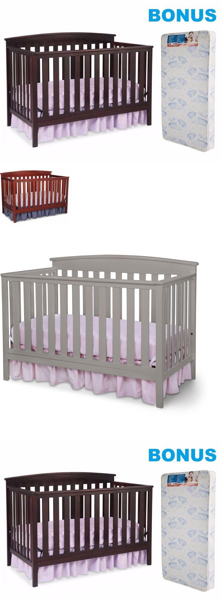 Cribs 2985 Convertible Crib With Bonus Mattress 4 In 1 Baby Children Nursery