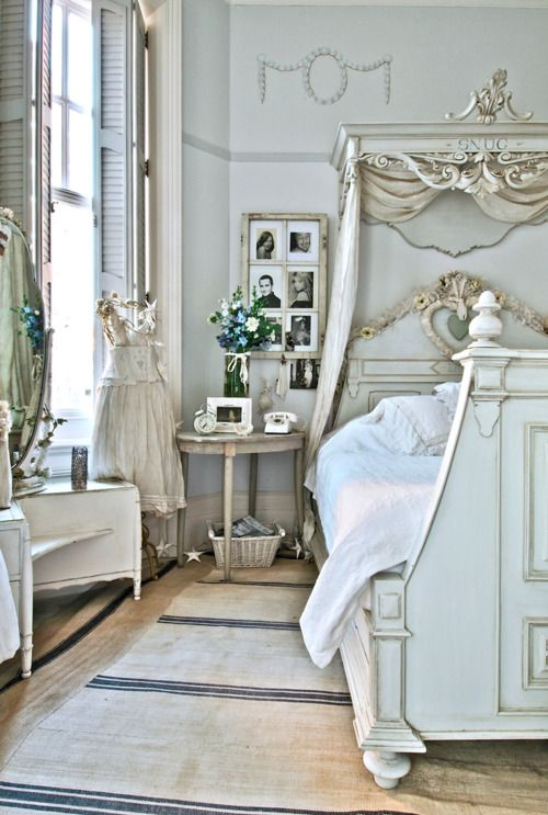 Blue White Shabby Chic Rustic French Country Bedroom Decor