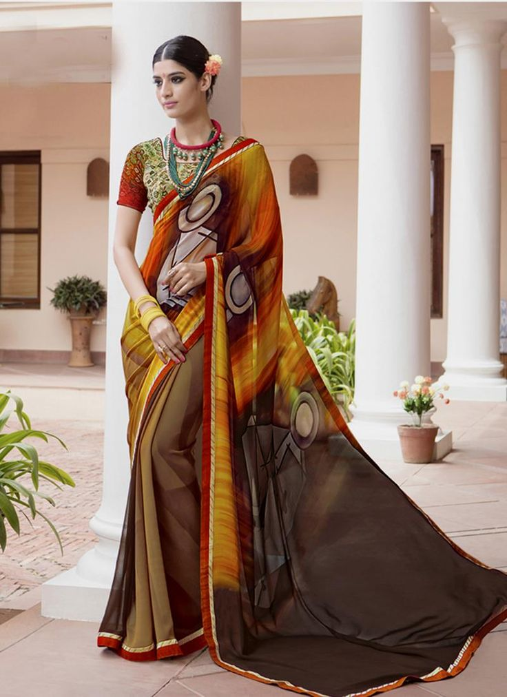 Buy online latest designer wedding sarees. Order this elegant georgette printed saree for casual and party.