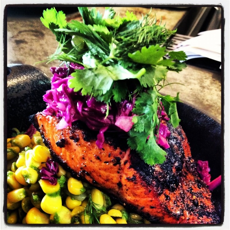 BLACKENED COPPER RIVER SALMON- served with floral spices, sweet corn ...