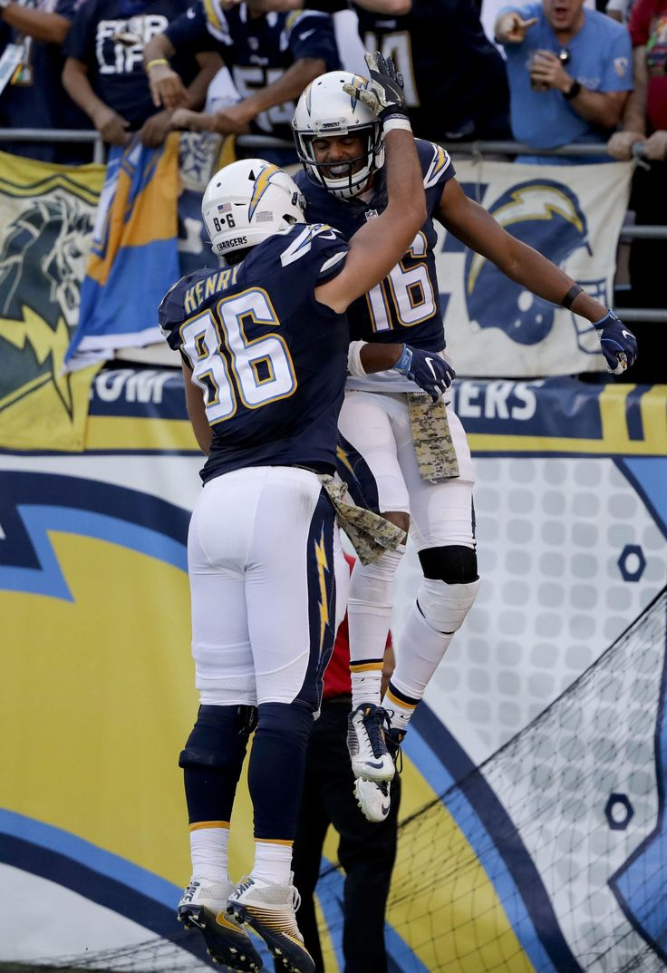 Dolphins vs. Chargers:  31-24, Dolphins  -  November 13, 2016  -   Tyrell Williams celebrates after scoring with Hunter Henry during the second half of an NFL football game in San Diego, Sunday, Nov. 13, 2016. (AP Photo/Gregory Bull) AP, GREGORY BULL