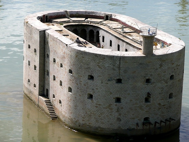 Fort Boyard is a fort located between the Île-d'Aix and the Île d'Oléron in the Pertuis d'Antioche straits, on the west coast of France. Under Napoleon Bonaparte, construction began in 1801 and was completed in 1857
