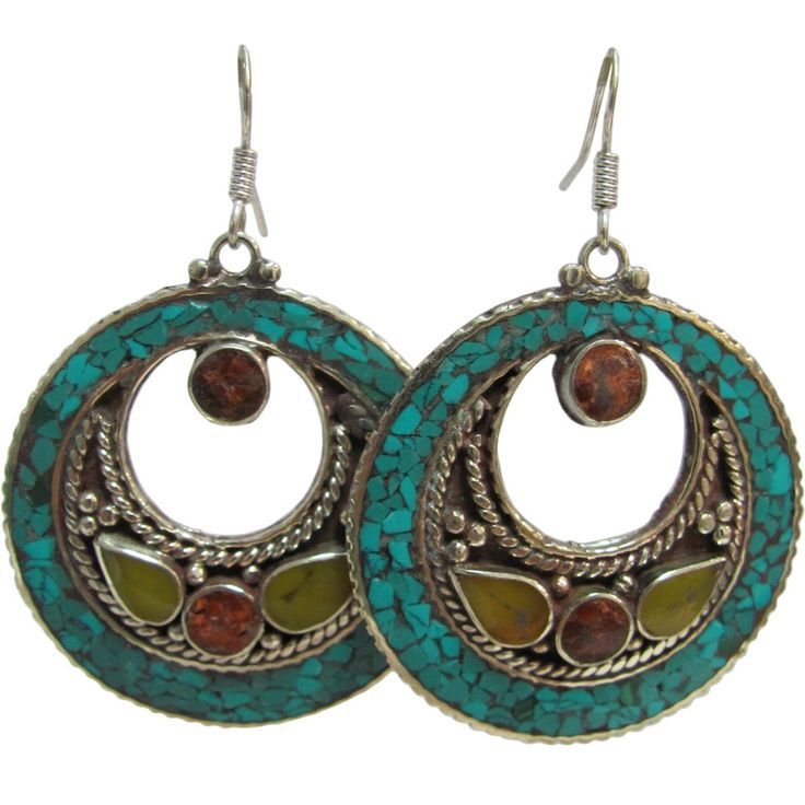 """Bohemian Gypsy Indian Vintage Tibetan Coral Turquoise Green Agate Silver-Tone Naga Tribal Earrings #25. Approximate length 2.5"""", diameter 1.75"""". French Hook Style, Mandala Half Moon Dangling Earrings. Features coral, turquoise, green agate, and silver-tone metal inlay. Lightweight, Good as Gifts; Made in India."""