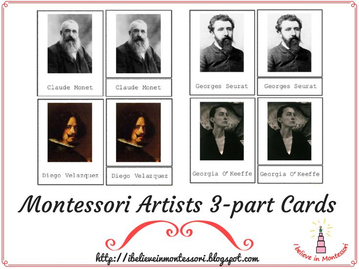 @: Famous Artists Montessori 3-part Art Cards Printables