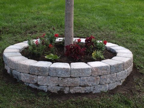 How to build a retaining wall around a tree...