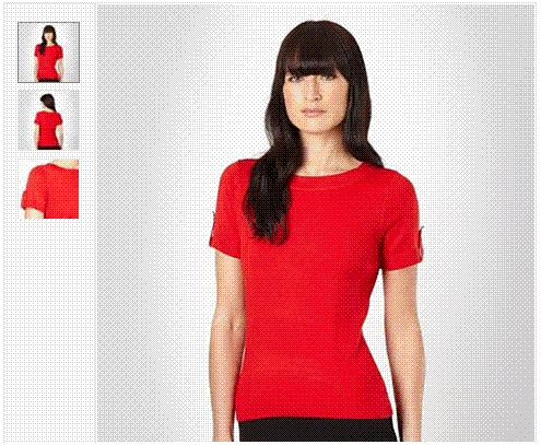 Red fine knitted stretch top  This red short sleeved top is part of the exclusive Principles by Ben de Lisi designer tops range. This women's top is styled in fine knitted stretch material with a boat neckline, ribbed side panelling and buttoned side tabs on the sleeves. Available in UK sizes 8-20, was £25 now only 12.50