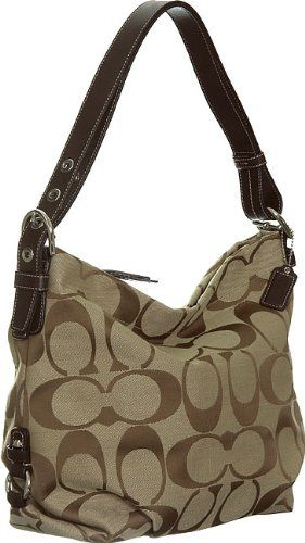 Authentic Coach Signature 24cm Zip Duffle Hobo Bag 15067 Khaki Mahogany