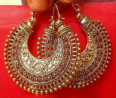 Vintage Ethnic South Jewelry Gold Tone Oxidized Indian Earrings Jhumka Jhumki