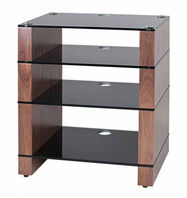 STAX 400 Four Shelf HiFi Stand and AV Rack, Natural Walnut, Black Glass | BLOK Hi-Fi Stands. SOUND Furniture
