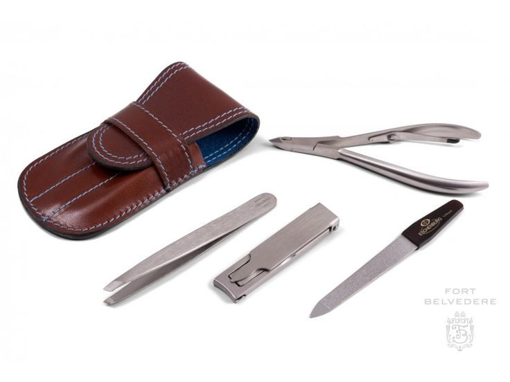 Brown Calf Leather and Blue Deerskin Manicure Kit with Stainless Steel INOX Nail Clipper and Tweezers Made in Germany by Fort Belvedere