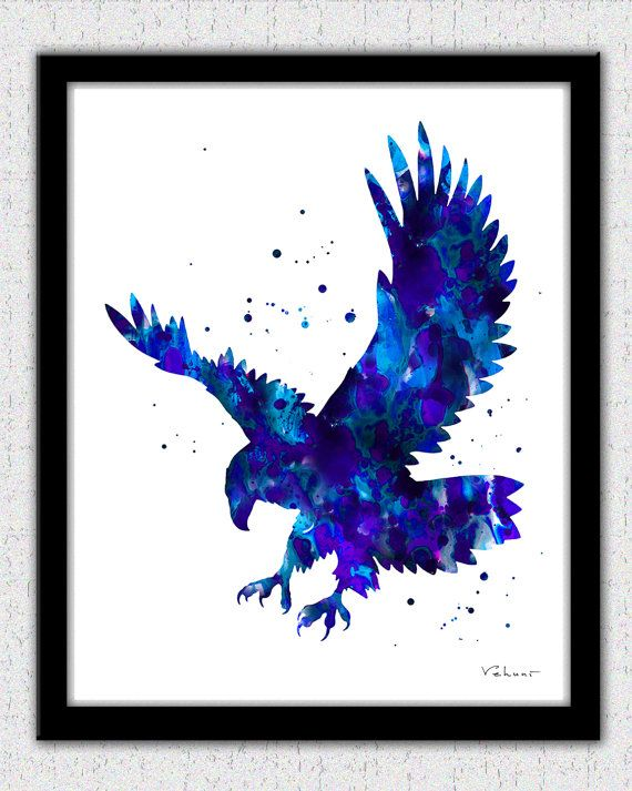Eagle print blue eagle print bold eagle art by FluidDiamondArt