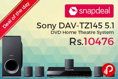 Snapdeal #DealofTheDay is offering 13% off on Sony DAV-TZ145 5.1 DVD Home Theatre System at Rs.10476. This Sony home theatre system is not only packed with useful features but is also lightweight and features a sleek design. It comes with a 5.1 channel configuration. Home Theatre, Sound Output: 360 W, Channel:5.1, Connectivity: USB, HDMI Port, Feature: FM Radio Player ...   http://www.paisebachaoindia.com/sony-dav-tz145-5-1-dvd-home-theatre-system-13-off-at-rs-10476-snapdeal/