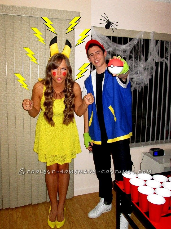 cool homemade costume for couples pikachu and ash - How To Make Homemade Costumes For Halloween