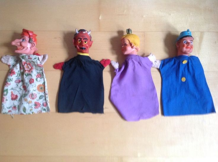 4 poppenkastpoppen - Kasperlepuppen, Handpuppen, Handschuhpuppen: duivel, Jan Klaassen met grote neus, paars, prinses, Princess, lila; Kasper, Polizist, Prinzessin, Teufel, Spielzeug, Puppen & Zubehör, Marionetten & Handpuppen | eBay