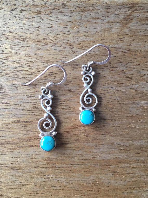 Turquoise Earrings Sterling Silver Earrings Turquoise