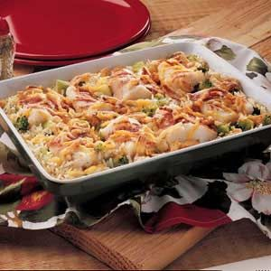 Baked Fish and Rice:  4 servings; 1 (1 cup) serving equals 392 calories, 16 g fat