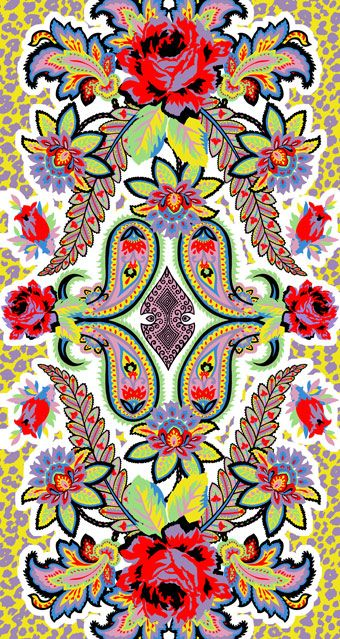 We're getting summer vibes! www.mygenue.com pattern design, patterns, bright colors, vintage, roses
