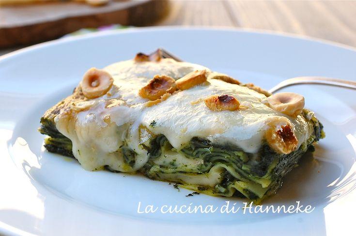 Lasagne agli spinaci, taleggio e nocciole