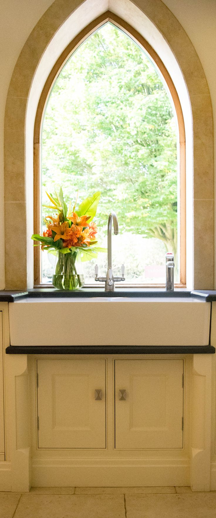 Belfast sink with Franke FilterFlow tap & Zip tap, with Antique Zimbabwe granite in our Guildford Showroom