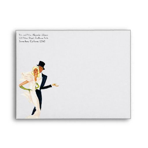 Vintage Love and Romance, Modern Wedding Couple Envelope