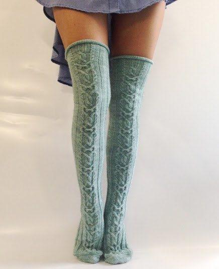 Wool Knee high Knit Socks Wool socks Hand made socks Cable Knee high Socks Mint wool socks Warm winter socks