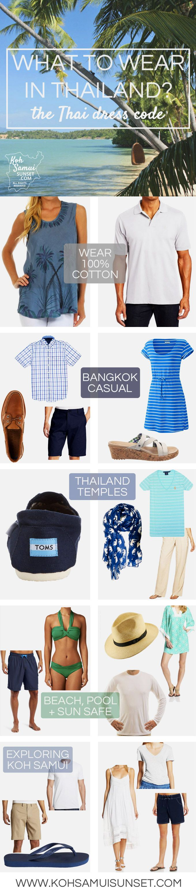 What to wear in Thailand? Learn the Thailand dress code in our 5-part 'What to Wear in Thailand' series: (1) what to wear generally, (2) what to wear at night, (3) what shoes to wear, (4) what to wear in rainy season and (5) what to wear to a wedding in Thailand // #Thailand #Packing #TravelTip // http://www.kohsamuisunset.com/what-to-wear-in-thailand/