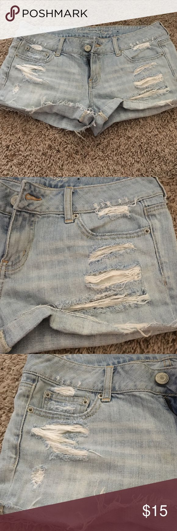 American Eagle destroyed shorts Great used condition! Light wash. Shorts came destroyed as shown. Cut off style. Smoke and pet free home American Eagle Outfitters Shorts Jean Shorts