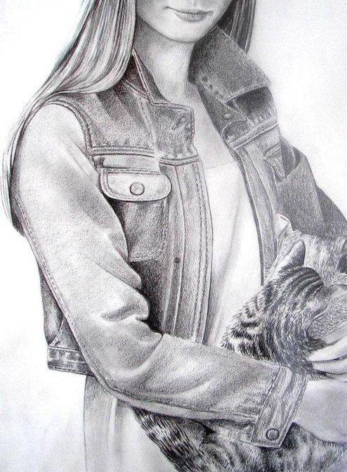 jeans blouse rysunek ołówkiem