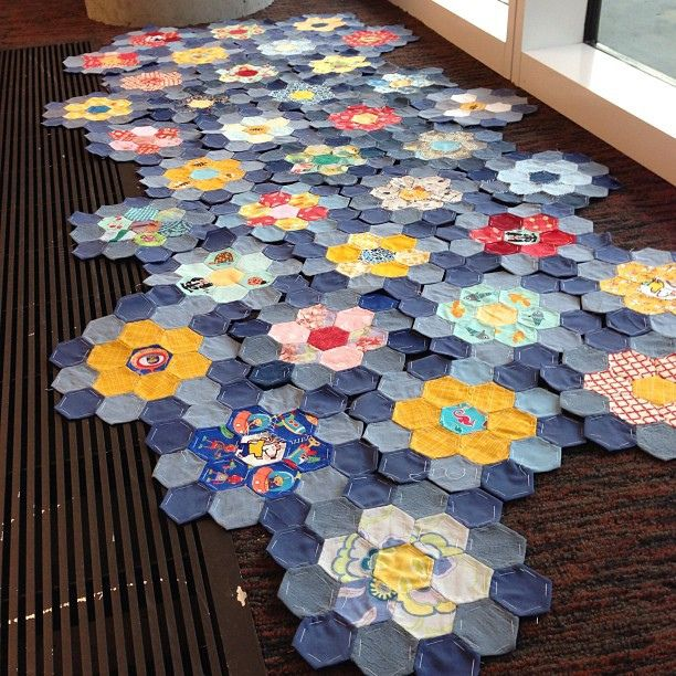 Hexie lily pad quilt..