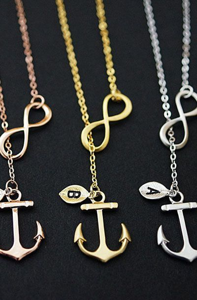 Personalized Infinity Anchor Necklace